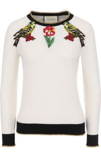 Пуловер из смеси кашемира и шелка с контрастной вышивкой Gucci