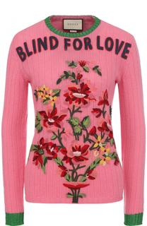 Шерстяной пуловер фактурной вязки с круглым вырезом Gucci