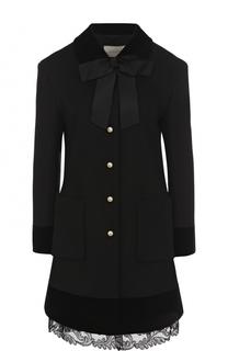 Шерстяное пальто с бантом и кружевной отделкой Gucci