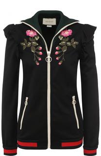 Кардиган на молнии с контрастной цветочной вышивкой Gucci