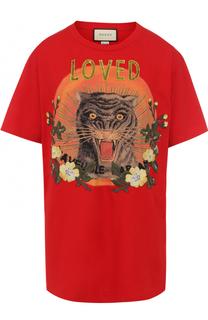 Хлопковая футболка свободного кроя с принтом Gucci