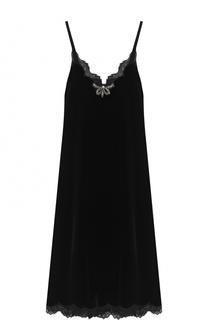 Приталенное платье-комбинация с кружевной отделкой Gucci