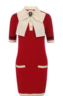 Шерстяное мини-платье с контрастным бантом Gucci