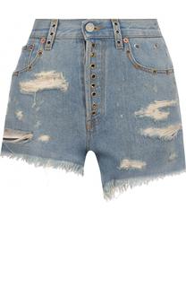 Джинсовые мини-шорты с потертостями и завышенной талией Gucci
