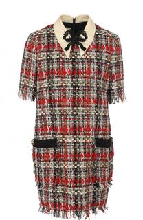 Буклированное мини-платье с коротким рукавом Gucci