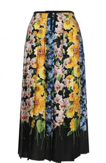 Шелковая юбка-миди в складку с принтом Gucci