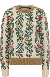 Шерстяной пуловер прямого кроя с круглым вырезом Gucci