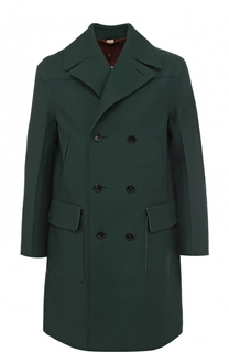 Двубортное шерстяное пальто с необработанным краем Gucci