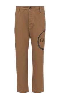 Хлопковые брюки прямого кроя с принтом Gucci