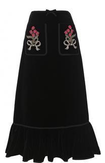 Бархатная юбка-миди с накладными карманами и оборкой Gucci