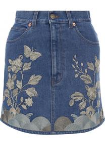 Джинсовая мини-юбка с контрастной отделкой Gucci