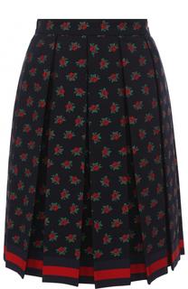 Юбка-миди в складку из смеси хлопка и шерсти Gucci