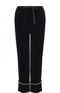 Укороченные бархатные брюки с отворотами Gucci