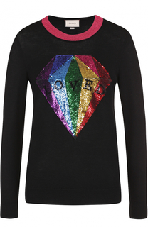Пуловер из смеси кашемира и шелка с пайетками Gucci