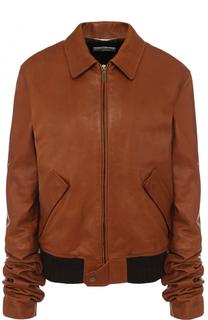 Однотонная кожаная куртка с отложным воротником Saint Laurent