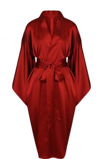 Однотонный шелковый халат с широким поясом Bordelle