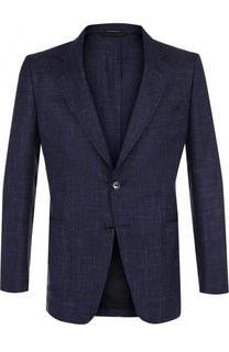 Однобортный пиджак из смеси шерсти и льна с шелком Tom Ford