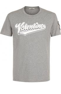 Хлопковая футболка с аппликацией Valentino