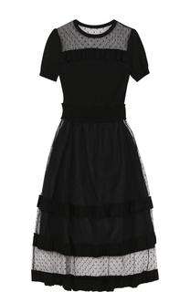 Приталенное платье-миди с кружевными вставками REDVALENTINO