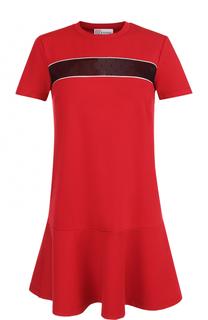 Платье-миди прямого кроя с кружевной вставкой REDVALENTINO