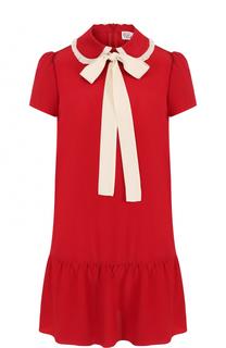 Шелковое мини-платье с оборкой и воротником аскот REDVALENTINO