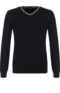 Пуловер тонкой вязки из смеси шерсти и хлопка BOSS