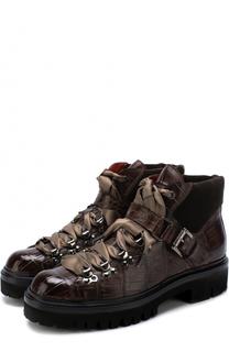 Ботинки из кожи аллигатора на шнуровке Santoni