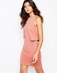 Облегающее платье без рукавов River Island - Розовый