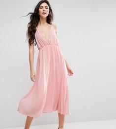 Короткое приталенное платье миди с декольте True Decadence Tall - Розовый