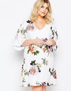 Цельнокройное платье с крупным принтом розы Truly You - Мульти