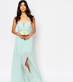 Платье макси с декорированной талией и складками TFNC WEDDING - Зеленый