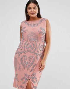 Платье миди с запахом на юбке и сплошной отделкой Lovedrobe Luxe - Розовый