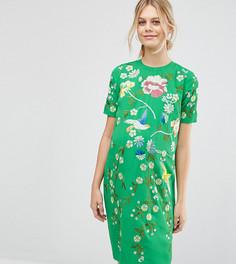 Цельнокройное платье для беременных с вышивкой ASOS Maternity - Зеленый