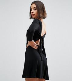 Платье мини с завязкой сзади ASOS PETITE - Черный