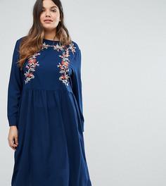 Платье миди с длинными рукавами и вышивкой Alice & You - Темно-синий