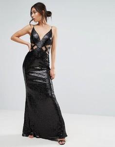 Платье макси с вырезами и сеточкой Forever Unique - Черный