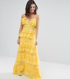 Платье макси с оборками и глубоким вырезом True Decadence Petite - Желтый