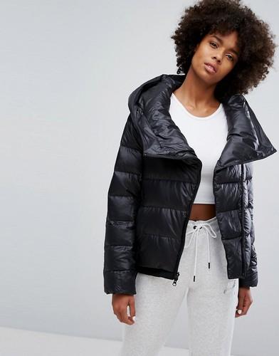 Длинная пуховая куртка с асимметричной молнией Nike - Черный