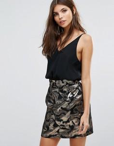Жаккардовое платье-трапеция мини AX Paris - Мульти
