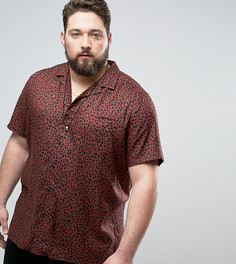 Рубашка из вискозы классического кроя с леопардовым принтом ASOS PLUS - Коричневый