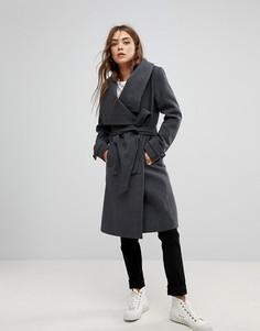 Пальто с воротником-стойкой и поясом Soaked In Luxury - Серый