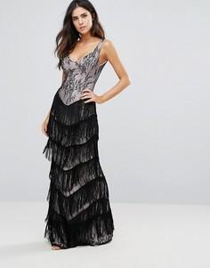 Кружевное платье макси с бахромой City Goddess - Черный