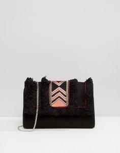 Клатч с замшевой вставкой и вышивкой Park Lane - Черный