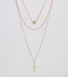 Ярусное ожерелье с крестиком Reclaimed Vintage Inspired - Золотой
