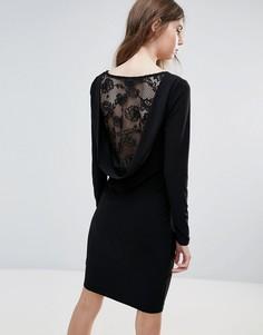 Облегающее платье с кружевной вставкой на спине Ichi - Черный