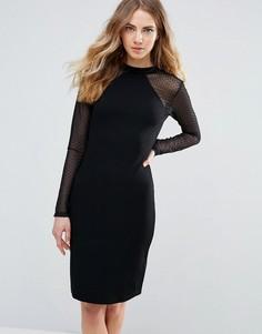 Облегающее платье с полупрозрачными рукавами Ichi - Черный