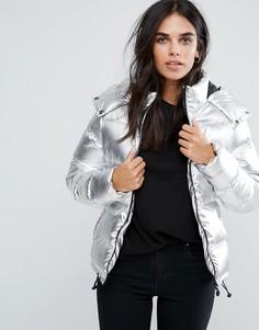 Короткое дутое пальто Brave Soul - Серебряный