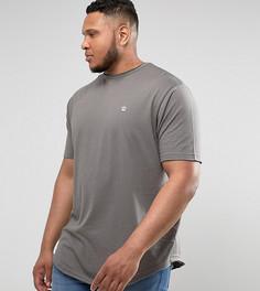 Удлиненная меланжевая футболка с асимметричный краем Le Breve PLUS - Серый