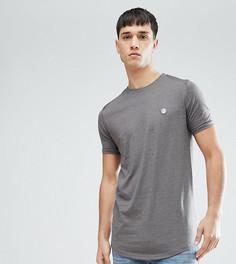 Длинная меланжевая футболка с закругленным краем Le Breve TALL - Темно-синий