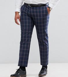 Синие узкие брюки в клетку Harry Brown PLUS - Темно-синий